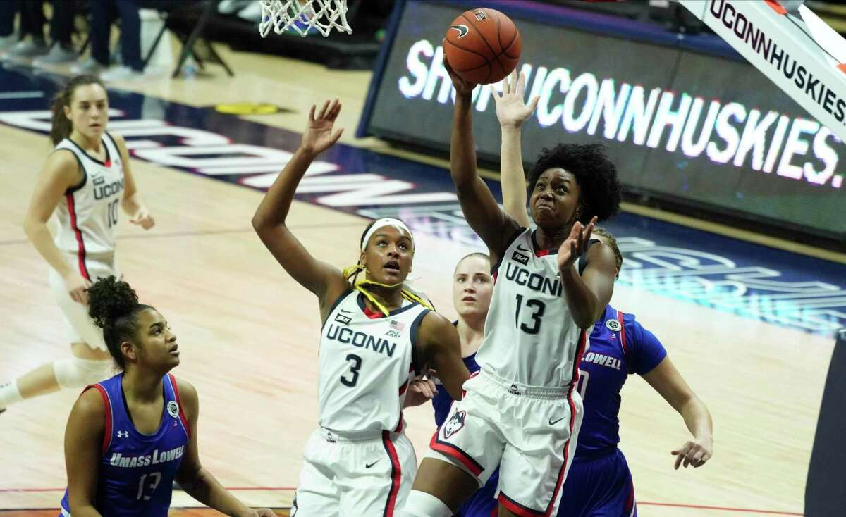 UConn guard Christyn Williams (13) shoots against UMass-Lowell during the second first half of an NCAA women's basketball game on Saturday in Storrs, Conn.
