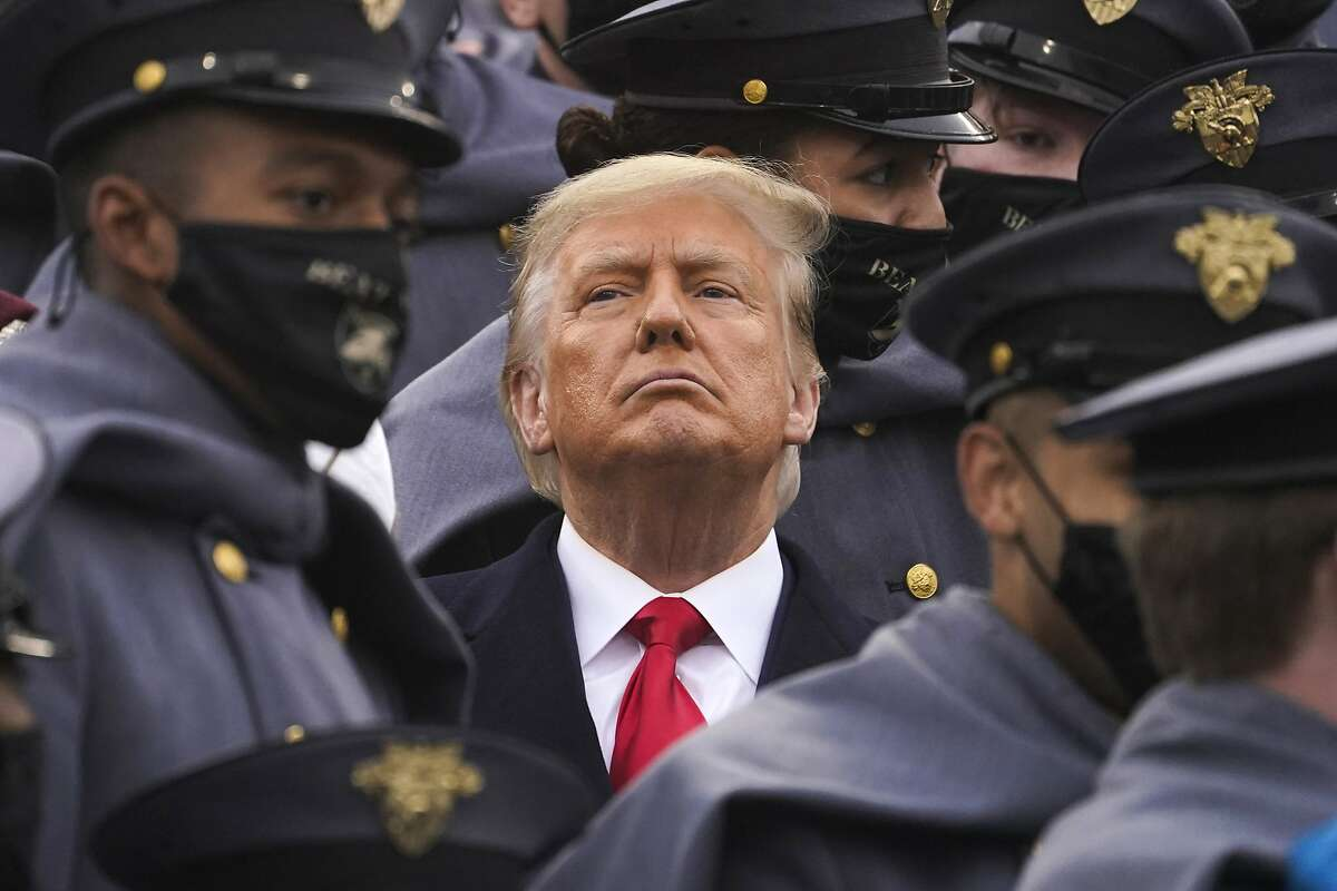 President Trump watches the first half of the 121st Army-Navy Football Game in Michie Stadium at the United States Military Academy on Dec. 12 in West Point, N.Y.