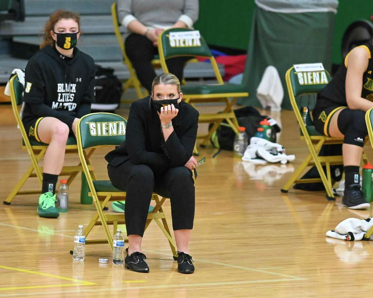 Siena College coach Ali Jaques is not happy while watching a a Metro Atlantic Athletic Conference game against Fairfield University at Siena College in Loudonville, NY, on Saturday, Dec. 12, 2020 (Jim Franco/special to the Times Union.)