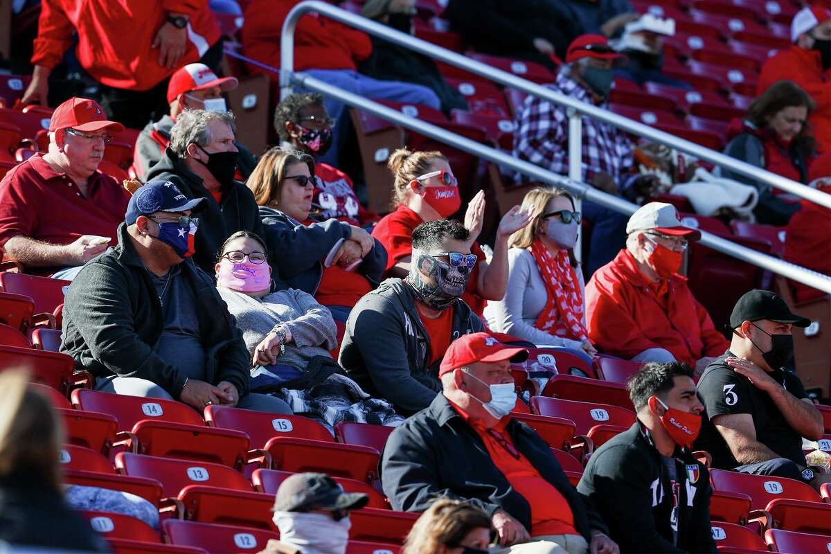 Most fans in the Judson bleachers wear masks as they watch the first half of their Class 6A Division II first round high school football playoff game with Roosevelt at Rutledge Stadium on Saturday, Dec. 12, 2020. Roosevelt beat Judson 28-21.