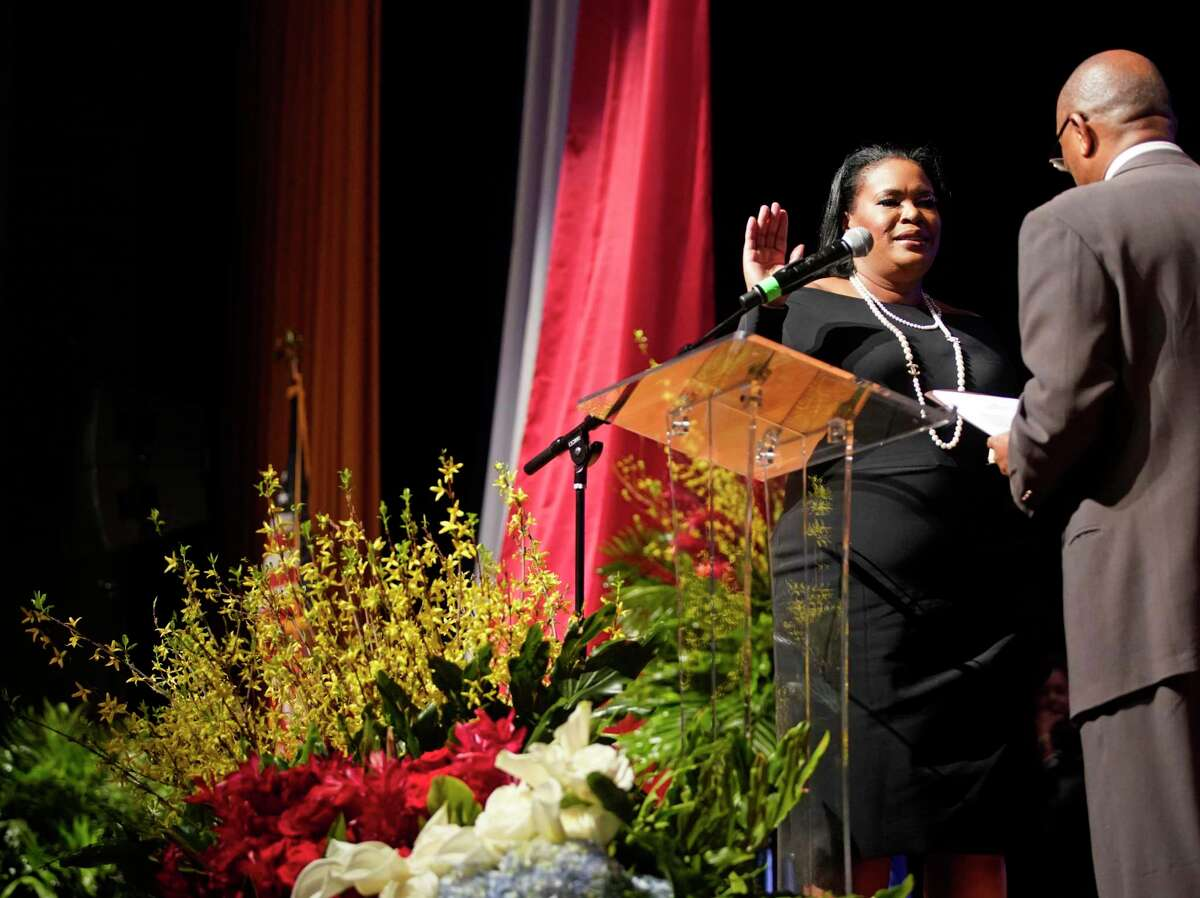 Yolanda Ford, mayor of Missouri City, takes the oath of office as being administered by Houston mayor Sylvester Turner during her inauguration ceremony held at Thurgood Marshall High School Sunday, Feb. 17, 2019. She is the first woman and African American ever elected for the city's highest office.