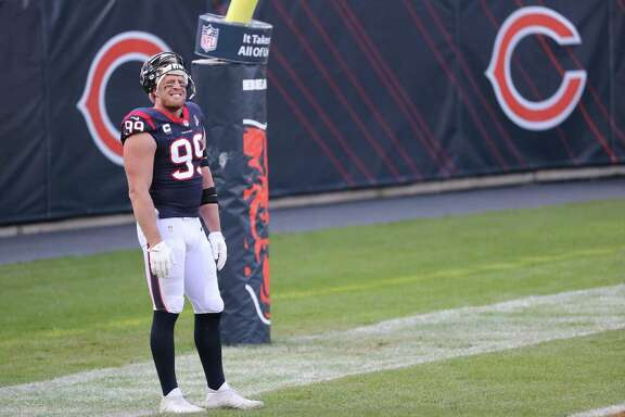 Houston Texans defensive end J.J. Watt stands in the end zone before an NFL football game against the Chicago Bears at Soldier Field Sunday, Dec. 13, 2020, in Chicago.