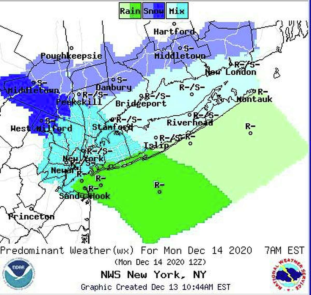 The amount and type of precipitation forecast for Monday, according to the National Weather Service.