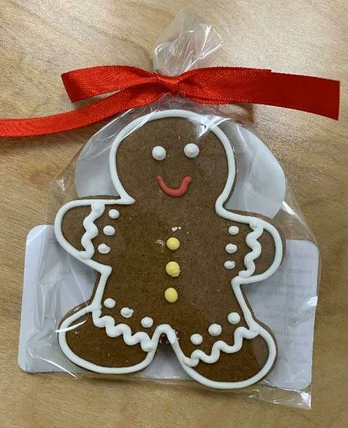 A gingerbread cookie with royal icing, similar to the 500 Emily DeCruze recently baked for Amazon's Trumbull employees.