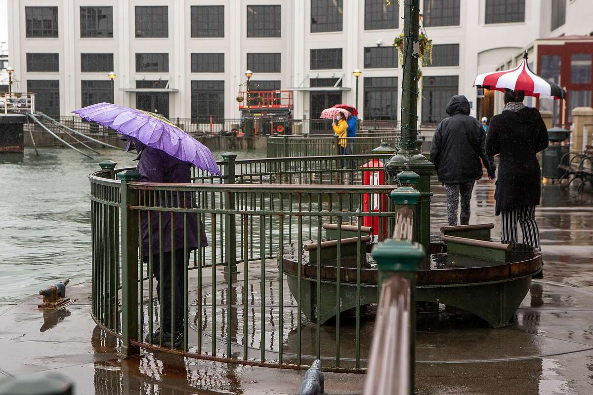 A handful of people brave the rain to check out the king tide event on Sunday along the Embarcadero in San Francisco.