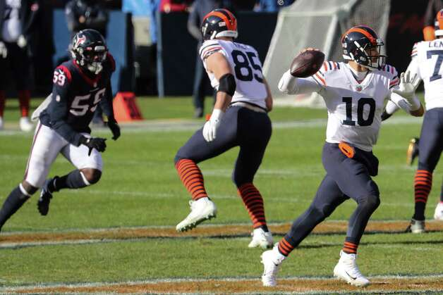Chicago Bears quarterback Mitchell Trubisky (10) rolls out to pass against the Houston Texans during the first quarter of an NFL football game at Soldier Field Sunday, Dec. 13, 2020, in Chicago. Photo: Brett Coomer, Staff Photographer / © 2020 Houston Chronicle