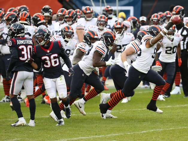 Chicago Bears linebacker Josh Woods (55) celebrates after recovering a fumble by Houston Texans wide receiver Keke Coutee during the second half of an NFL football game at Soldier Field Sunday, Dec. 13, 2020, in Chicago. Photo: Brett Coomer/Staff Photographer / © 2020 Houston Chronicle