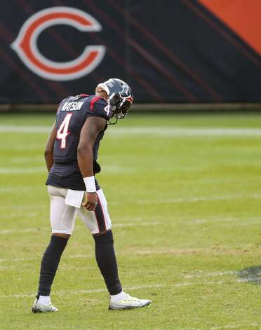 Houston Texans quarterback Deshaun Watson (4) walks back onto the field during the second half of an NFL football game against the Chicago Bears at Soldier Field Sunday, Dec. 13, 2020, in Chicago. Photo: Brett Coomer/Staff Photographer / © 2020 Houston Chronicle