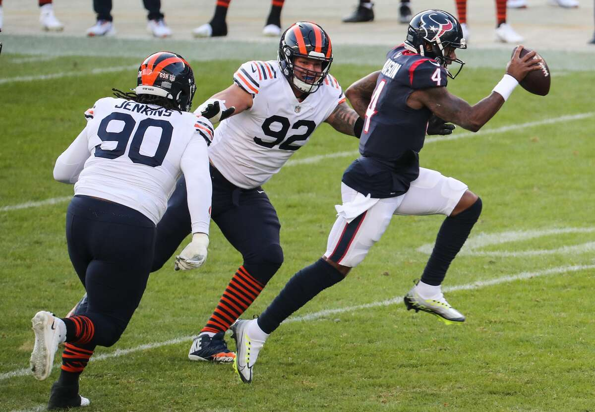 Deshaun Watson being under duress was a frequent sight in Chicago last weekend. That has some readers worried about his safety the final three games given his poor protection of late.