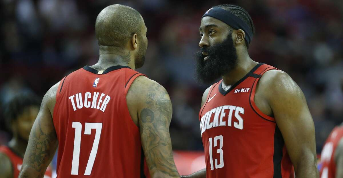 James Harden and P.J. Tucker were in the Rockets' starting lineup for Tuesday's preseason game against the Spurs.