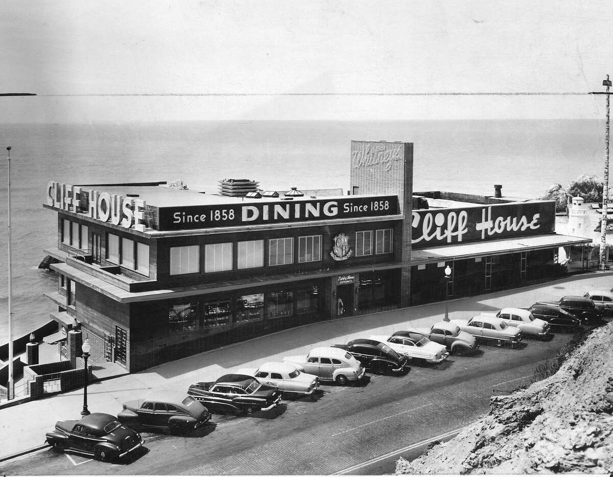 The Cliff House restaurant and Seal Rocks, as seen from Sutro Heights park in 1953.