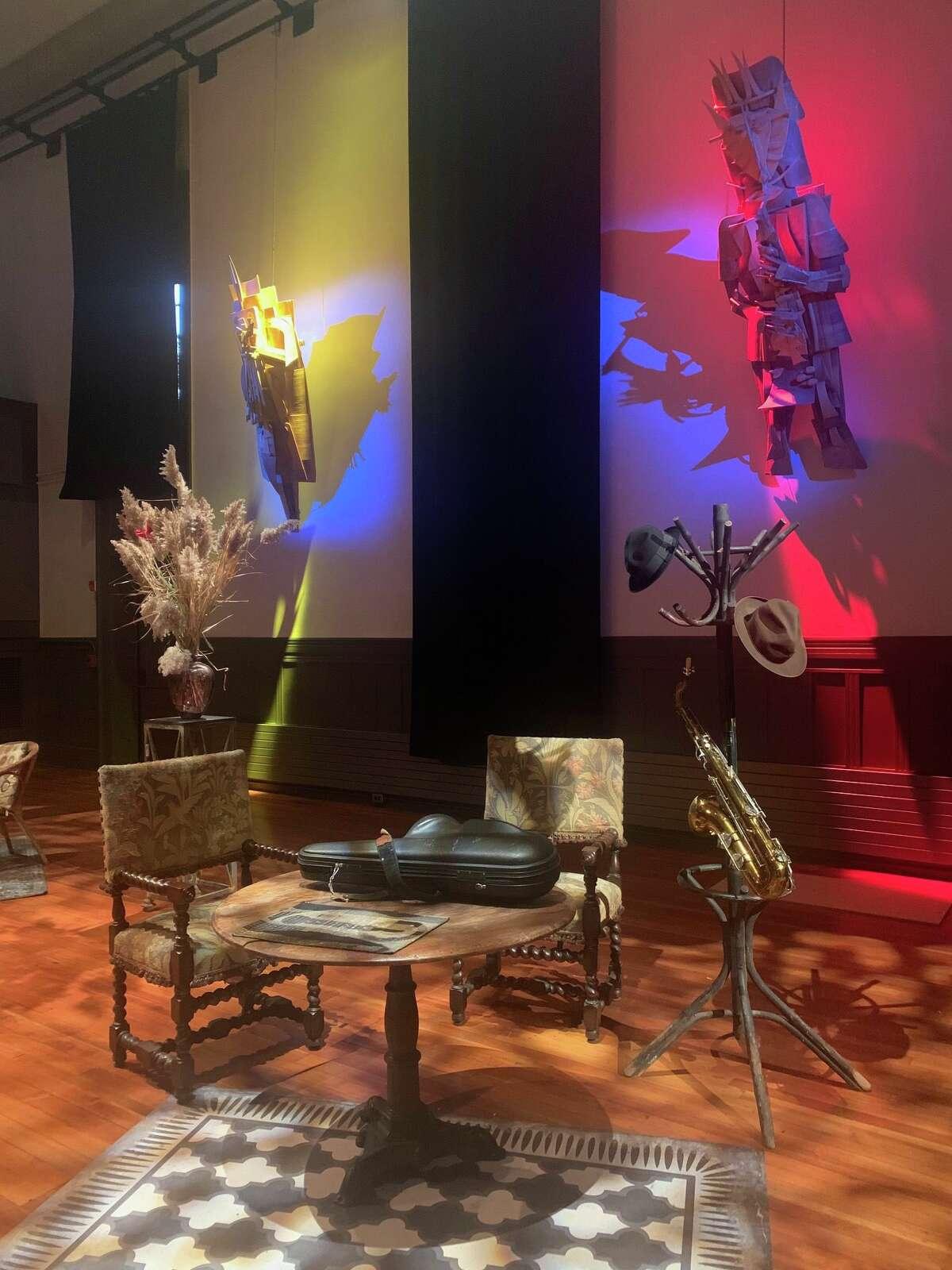 Hanging - Sun Ra sculptures by Reginald Madison at Hudson Hall.