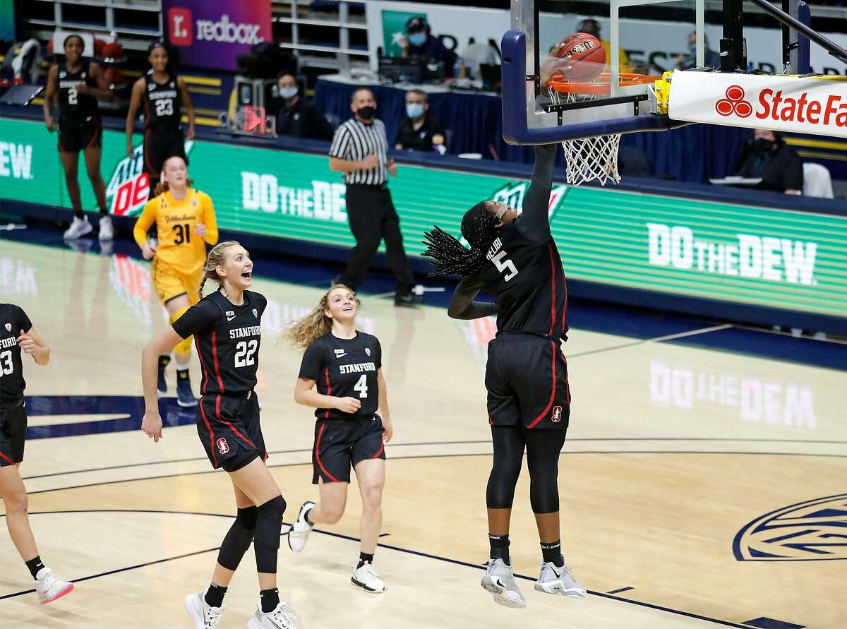 Stanford's Francesca Belibi dunks against California in 2nd quarter during NCAA women's basketball game at Haas Pavilion in Berkeley, Calif., on Sunday, December 13, 2020.