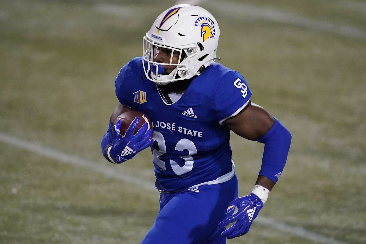 San Jose State running back Tyler Nevens (23) plays against Nevada during an NCAA college football game Friday, Dec. 11, 2020, in Las Vegas. (AP Photo/John Locher)