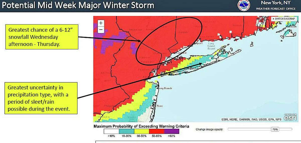 The National Weather Service provided this map on Monday, showing the expected impacted areas for a major stnowstorm expected to reach Connecticut late Wednesday afternoon on Dec. 16, 2020, and continue into Thursday morning.
