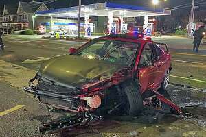 One of the vehicles involved in a crash in Bridgeport, Conn., on Sunday, Dec. 13, 2020.