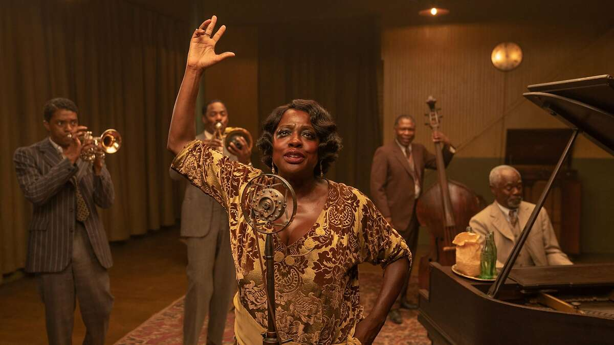 From left, Chadwick Boseman as Levee, Colman Domingo as Cutler, Viola Davis as Ma Rainey, Michael Potts as Slow Drag, and Glynn Turman as Toldeo in