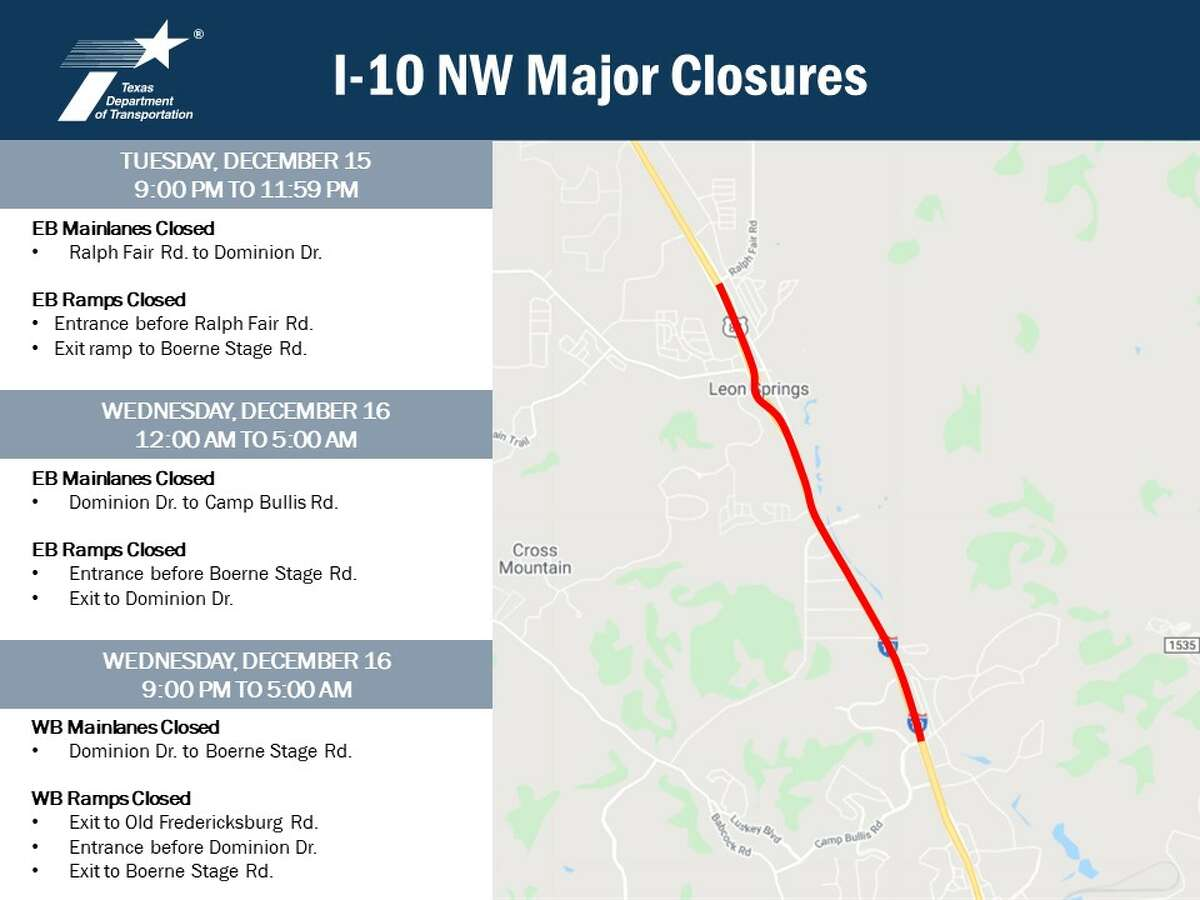 The Texas Department of Transportation said portions of Interstate 10 on the Northwest Side will experience closures Tuesday and Wednesday nights so that crews can install digital message boards as part of the I-10 Expansion Project.