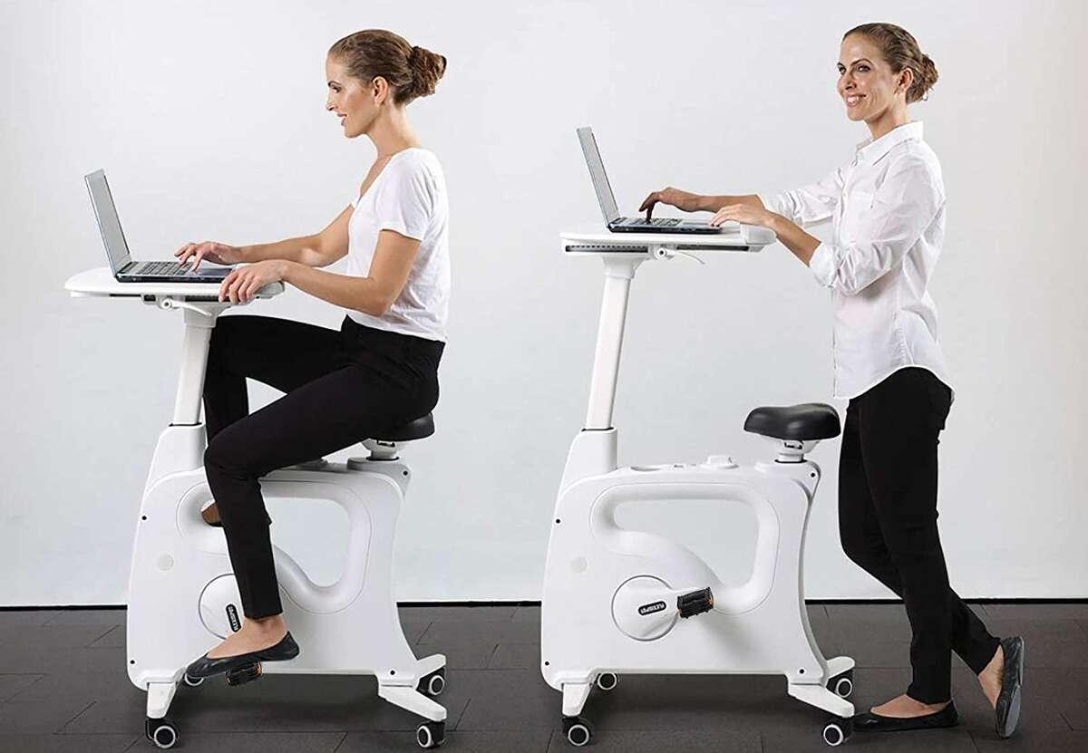 FLEXISPOT Adjustable Exercise Bike Desk Standing Desk Cycle for Home Office, $349.99 on Amazon