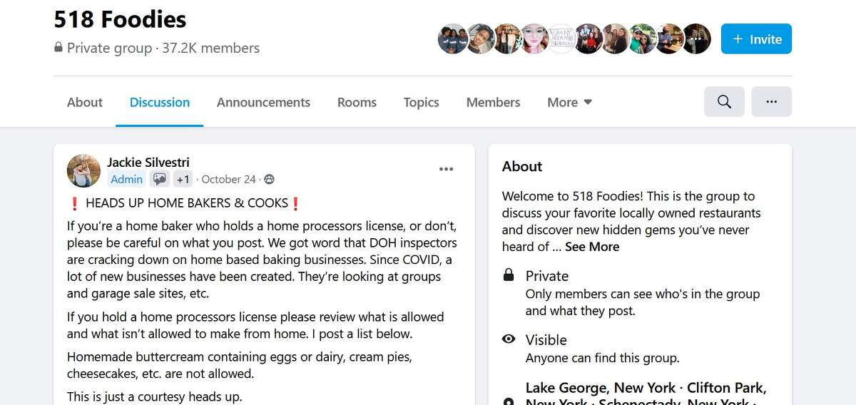 A post, dated Oct. 24, 2020, on the 518 Foodies Facebook from one of the administrators about home-based businesses and state Department of Health inspections.