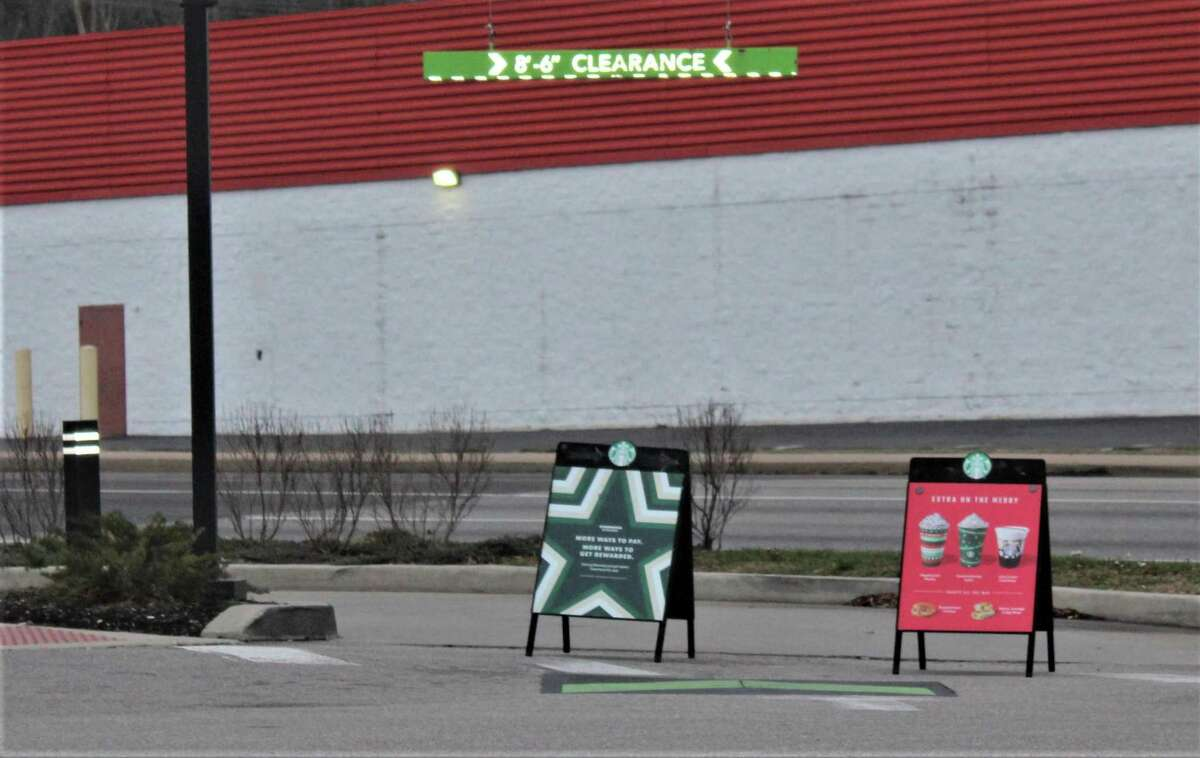 The drive-thru area at Starbucks in Middletown is closed.