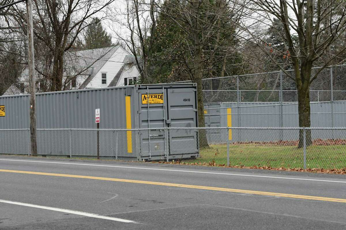 Storage units are seen on the grounds at Loudonville Elementary school on Monday, Dec. 14, 2020 in Colonie, N.Y. (Lori Van Buren/Times Union)