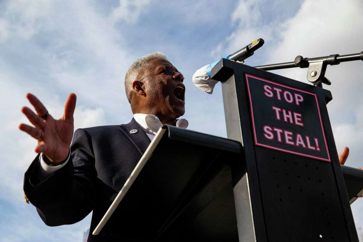 Allen West, chairman of the Republican Party of Texas, speaks during a Don't Steal the Vote rally in support of President Donald Trump in front of Dallas City Hall on Saturday, Nov. 14, 2020. (Juan Figueroa/Dallas Morning News/TNS)