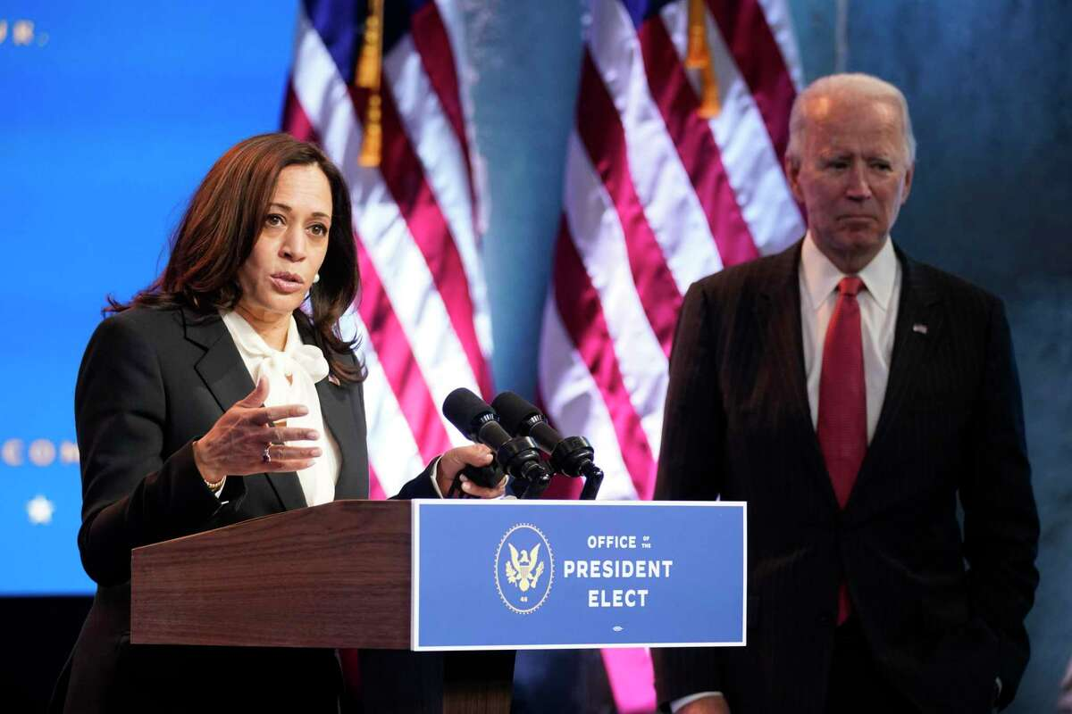 Vice President-elect Kamala Harris, accompanied by President-elect Joe Biden, in a file photo from last month.