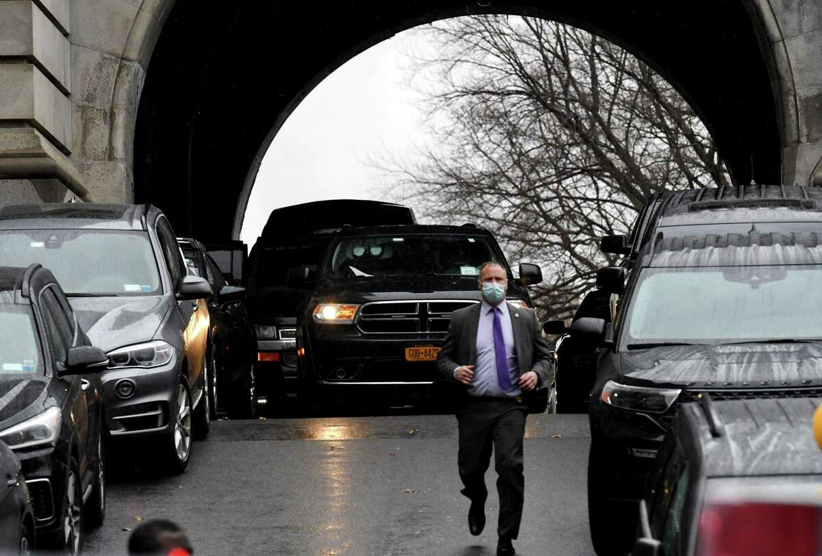The Clinton motorcade prepares to the Capitol after Former President Bill Clinton and Former Sec. of State Hillary Clinton took part in the New York Electoral College vote on Monday, Dec. 14, 2020, in Albany, N.Y. (Will Waldron/Times Union)