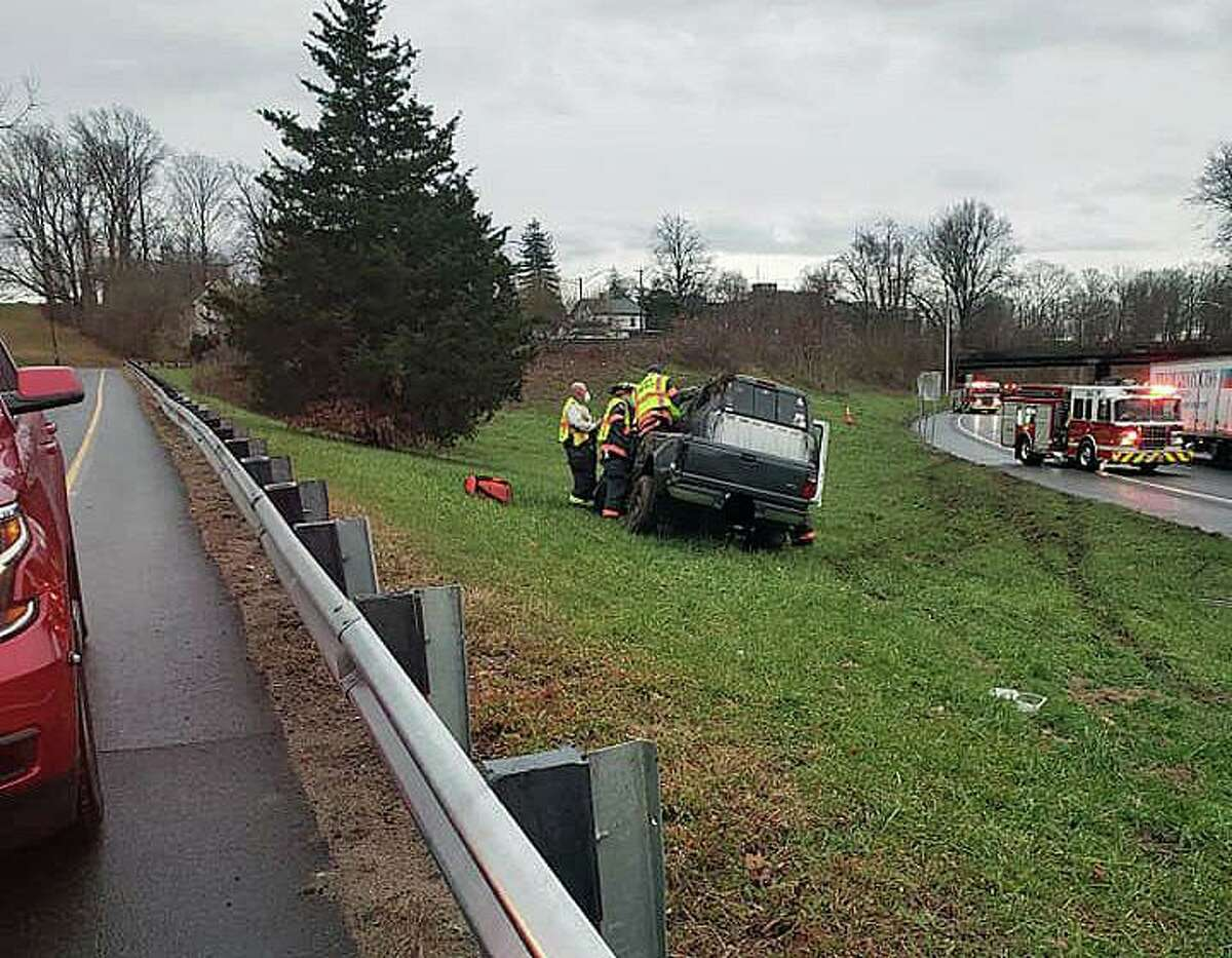 The aftermath of a rollover crash on Route 9 in Middletown, Conn., on Monday, Dec. 14, 2020.