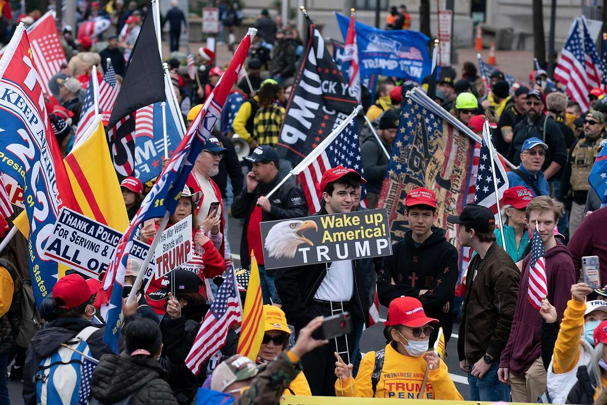 Supporters of President Trump rally at Freedom Plaza in Washington, D.C., on Saturday.