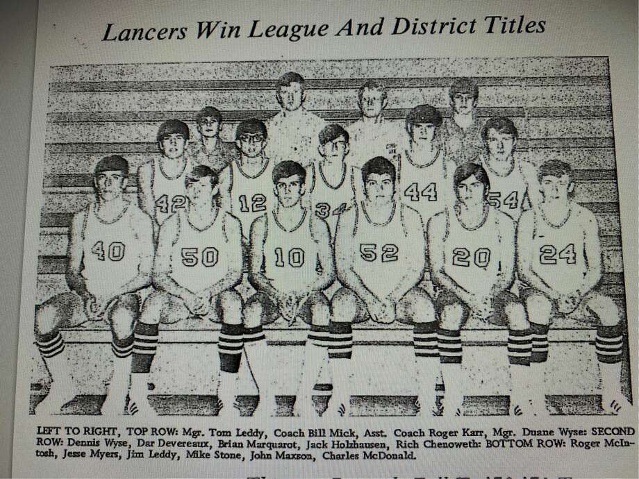 Members of Bullock Creek's 1970-71 basketball team were (bottom, from left) Roger McIntosh, Jesse Myers, Jim Leddy, Mike Stone, John Maxson, Chuck McDonald; (middle, from left) Dennis Wyse, Dar Devereaux, Brian Marquardt, Jack Holzhausen, Rich Chenoweth; and (top, from left) manager Tom Leddy, head coach Bill Mick, assistant coach Roger Karr, and manager Duane Wyse. Photo:  (image Reproduced From Original Daily News Print)