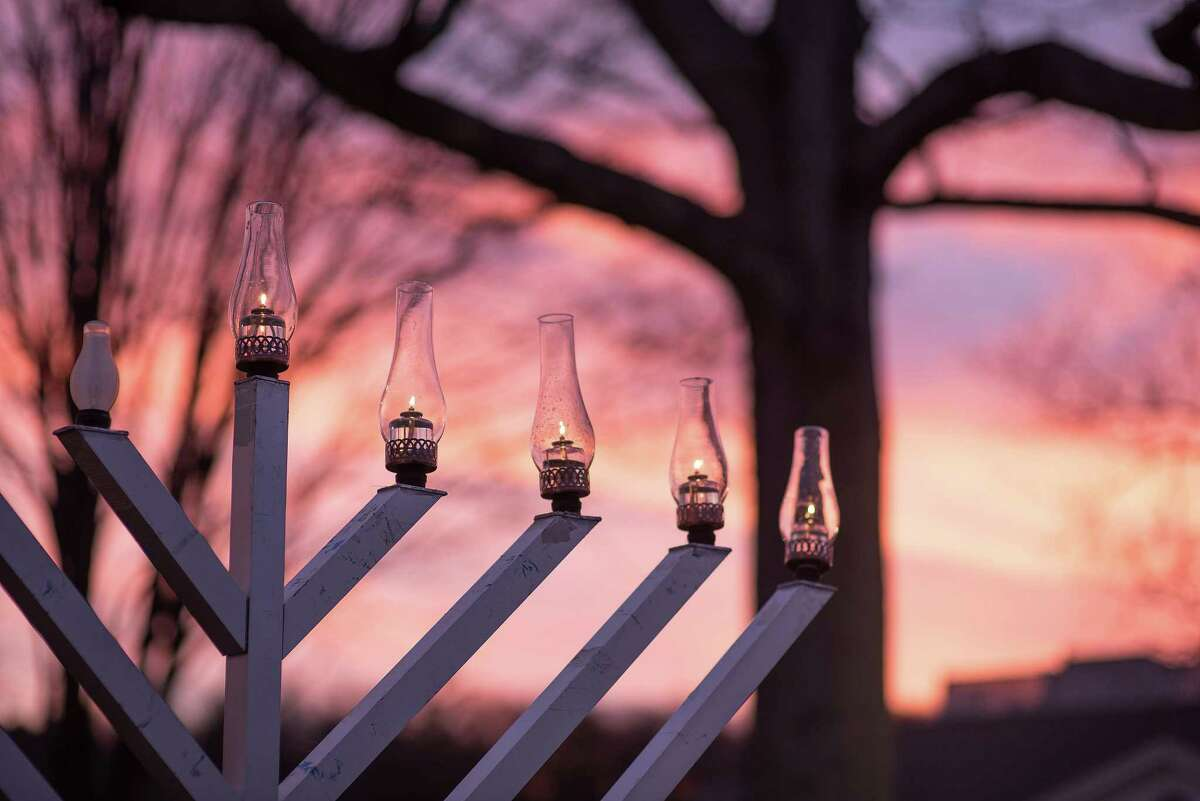 The menorah was lit on the fourth night of Hanukkah on Sunday, Dec. 13, 2020, at the Wilton Town Green by Rabbi Levi Stone of the Schneerson Center.