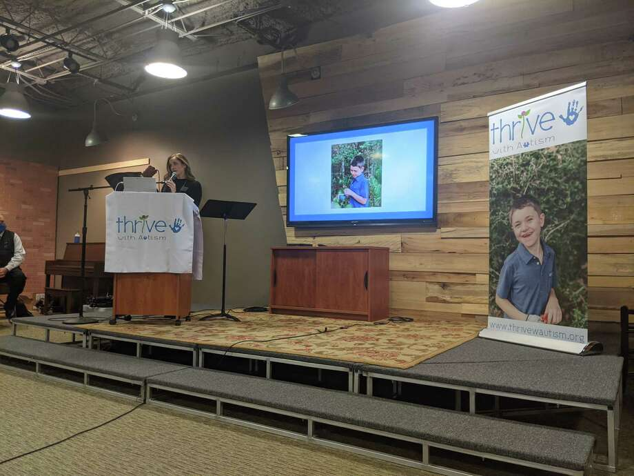 Elizabeth Goldsmith, president and founder of Thrive With Autism, presents the organization's idea for a new charter school created to serve students with autism at a community meeting on Dec. 9, 2020. Photo: Jamie Swinnerton