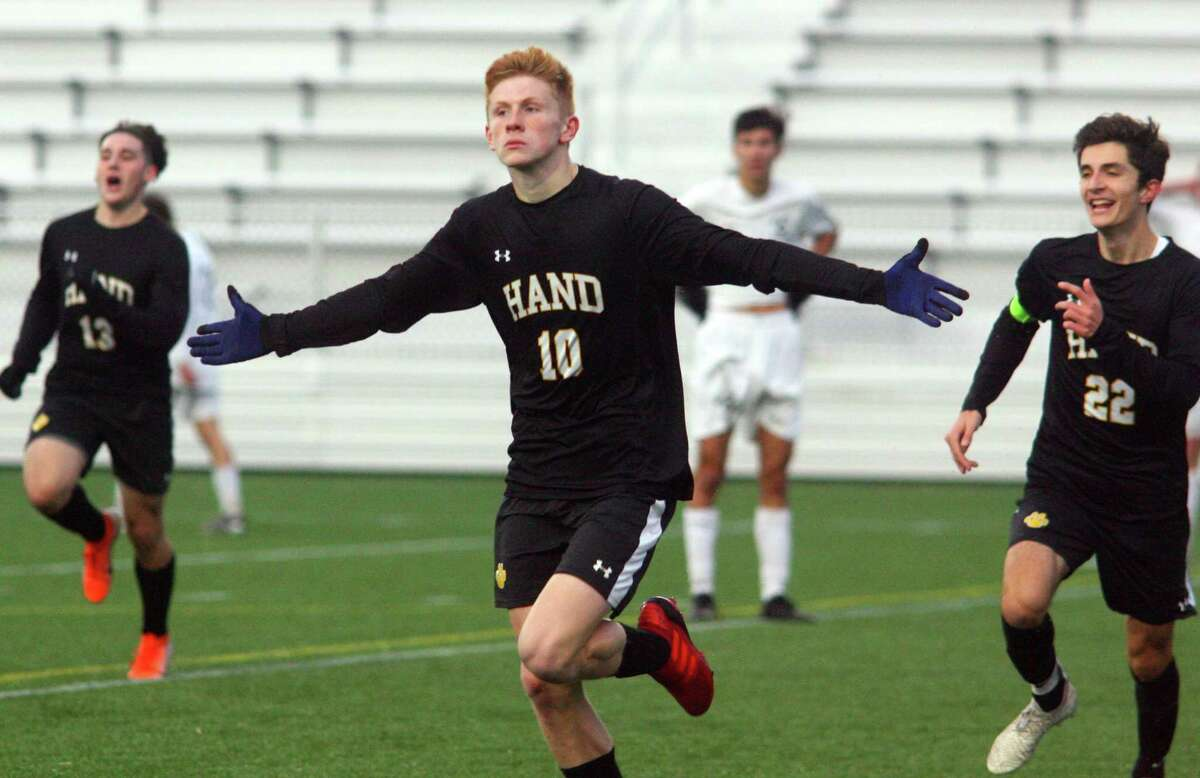 Daniel Hand's Scott Testori (10) rushes to the fans in the stands after scoring a goal against Wilton during CIAC State Boys Soccer Tournament action in Hartford, Conn., on Saturday Nov. 23, 2019.
