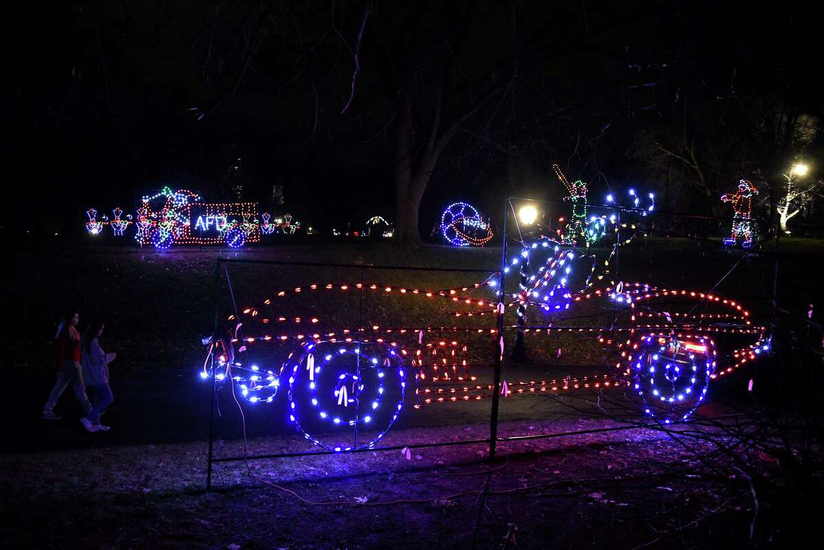 Displays are lit up for families to enjoy at the Capital Holiday Lights in Washington Park on Thursday, Dec. 10, 2020 in Albany, N.Y. (Lori Van Buren/Times Union)