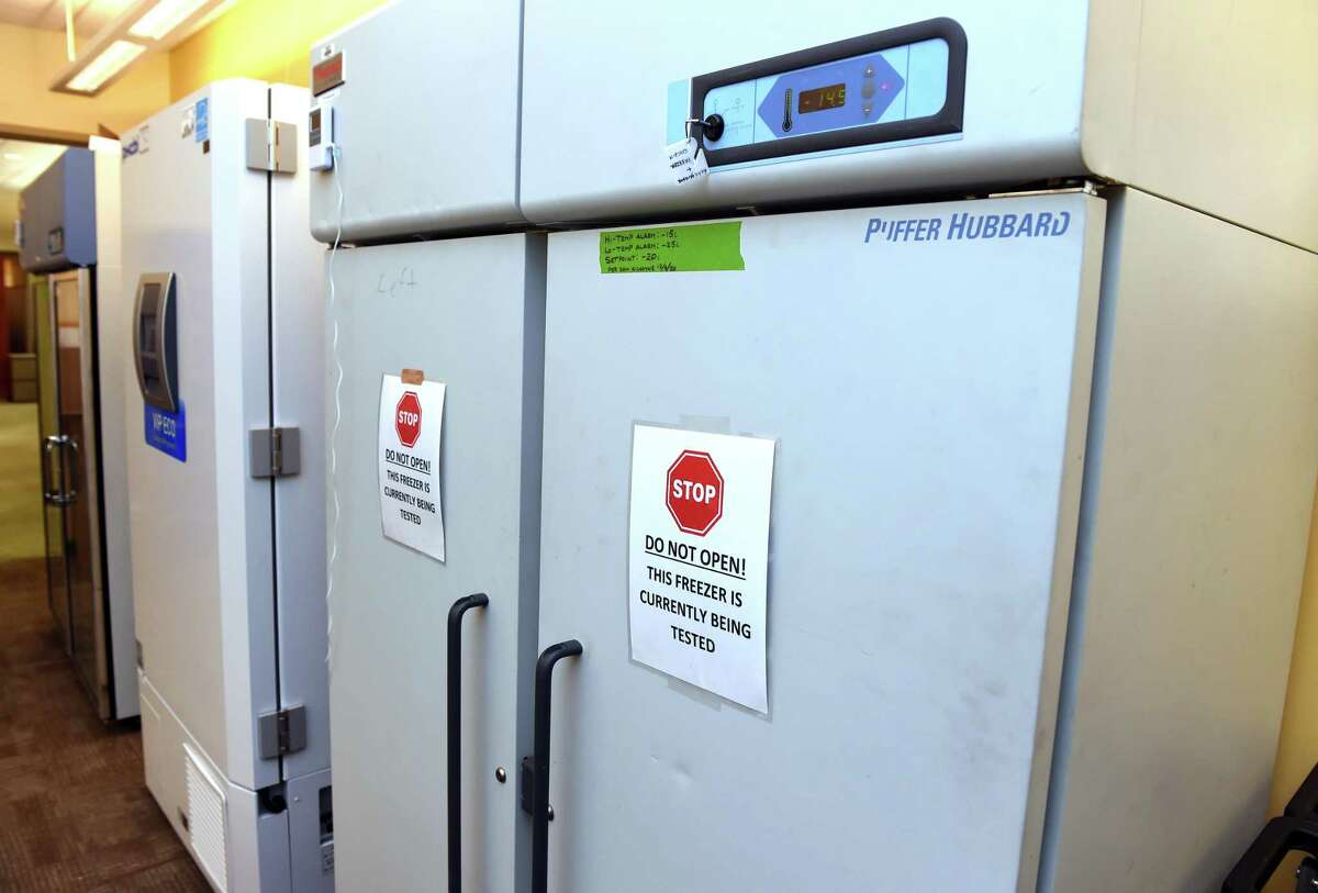 The two freezers awaiting the COVID-19 vaccines from Pfizer and Moderna at Yale New Haven Hospital on December 11, 2020.