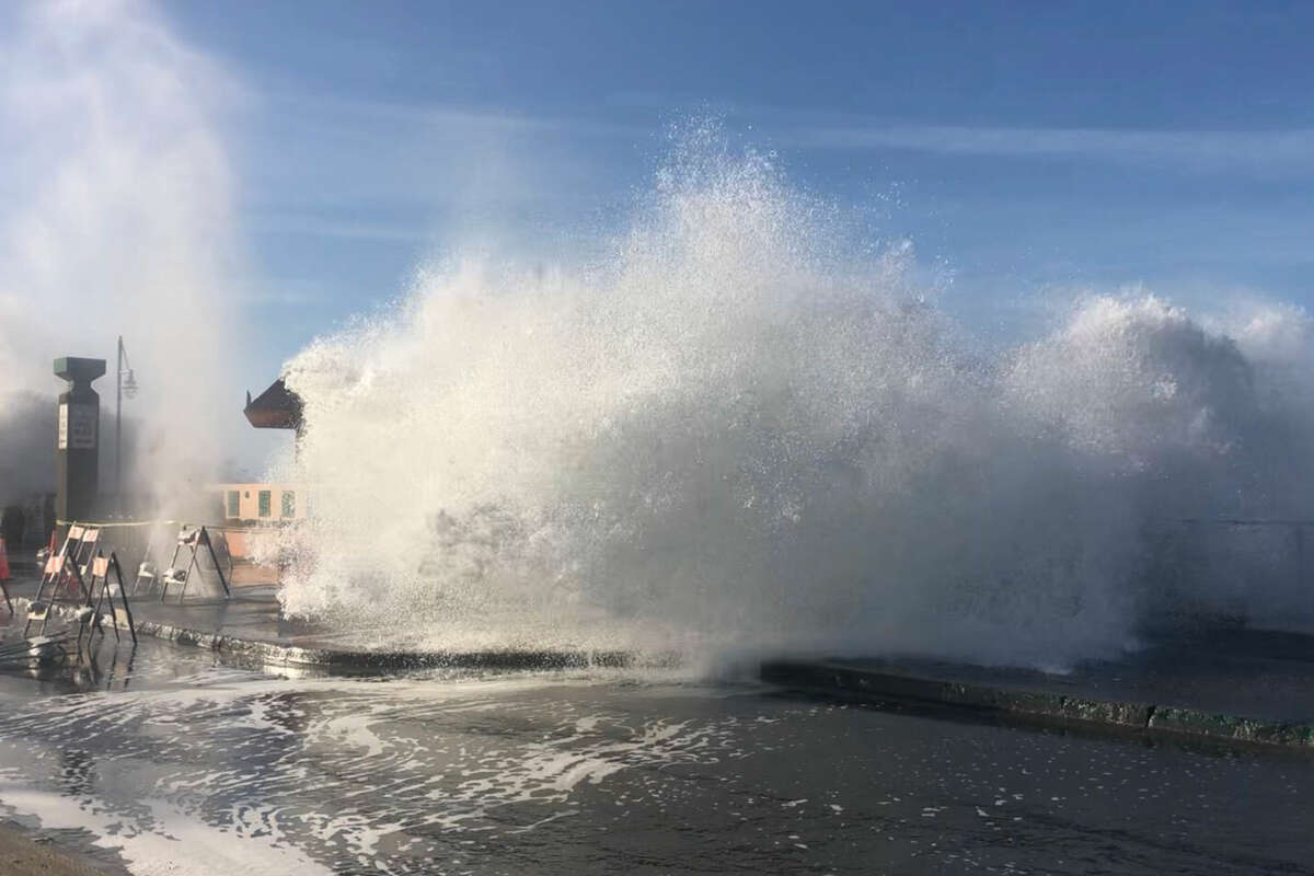 Pacifica Pier just south of San Francisco, Calif., was engulfed by big waves and a high tide on Monday, Dec. 14, 2020.