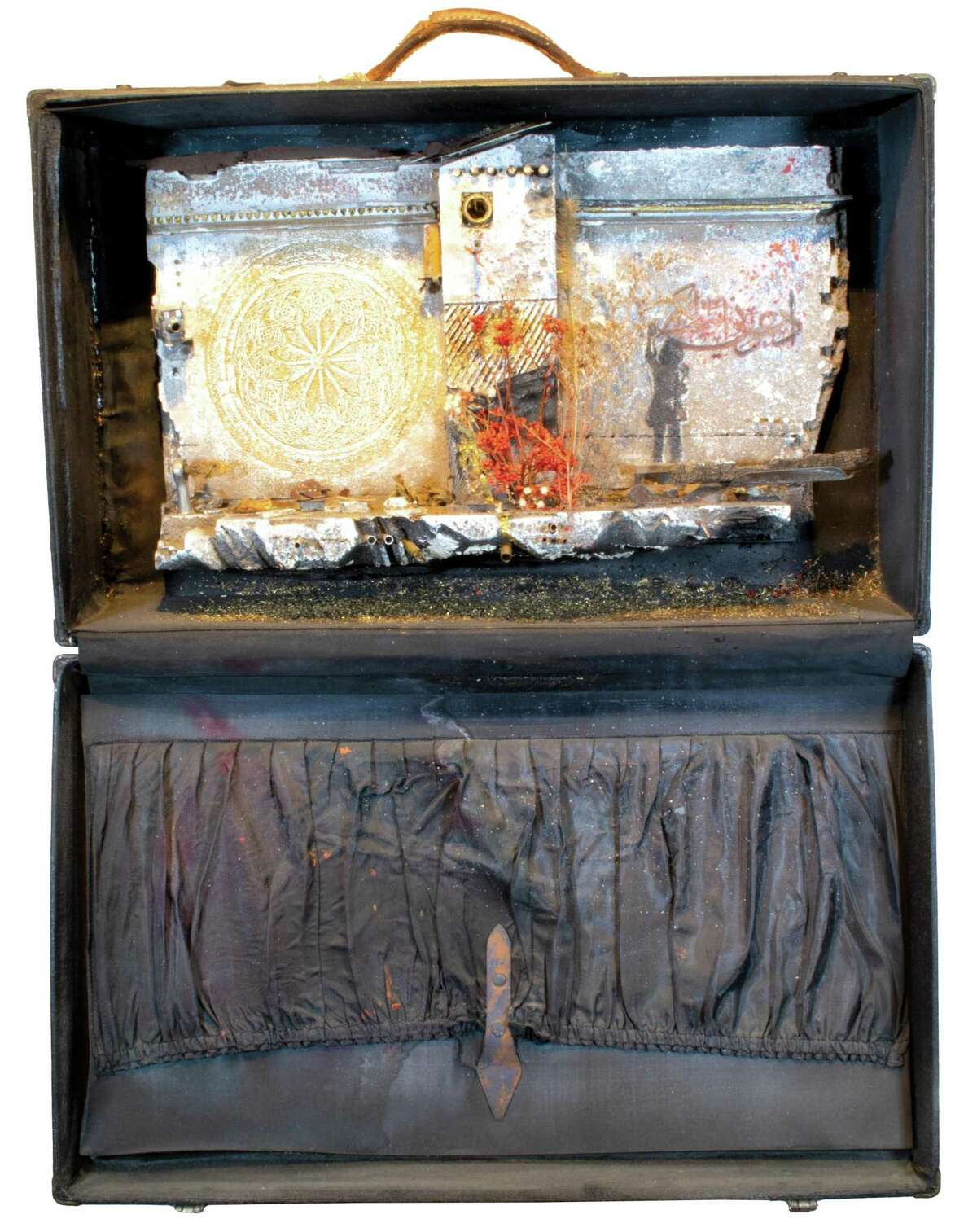 """""""Baggage #3"""" by Mohamad Hafez is part of the """"The Golden Door"""" exhibit at the Silvermine Gallery, 1037 Silvermine Road. It runs through Jan. 16. In-person viewing, 10 a.m.-4 p.m. Schedule in advance at 203-966-9700, ext. 3; silvermineart.org ."""