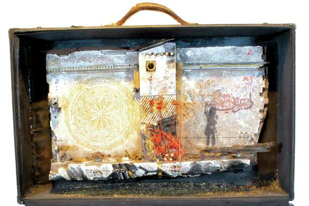 """Baggage #3"" by Mohamad Hafez is part of the ""The Golden Door"" exhibit at the Silvermine Gallery, 1037 Silvermine Road. It runs through Jan. 16. In-person viewing, 10 a.m.-4 p.m. Schedule in advance at 203-966-9700, ext. 3; silvermineart.org ."