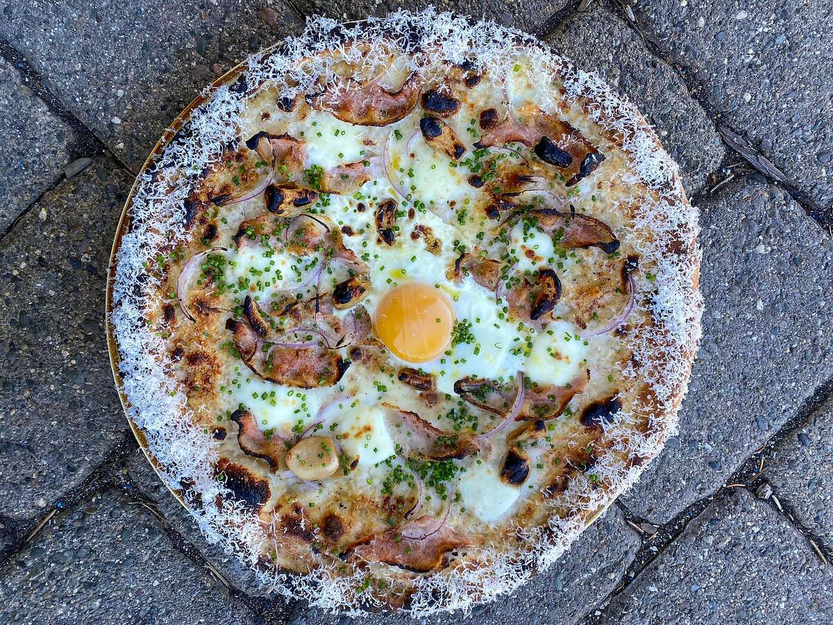 Carbonara pizza with guanciale, roasted garlic cream and an egg from Great Gold in Truckee.