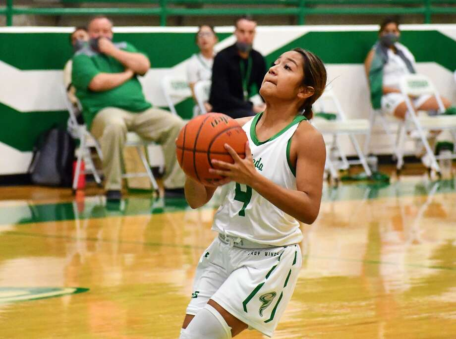 Clarissa Delafuente and the Floydada girls basketball team lost four games from the schedule after all but two members of the Lady Winds varsity squad were quarantined for almost two weeks. Photo: Nathan Giese/Planview Herald