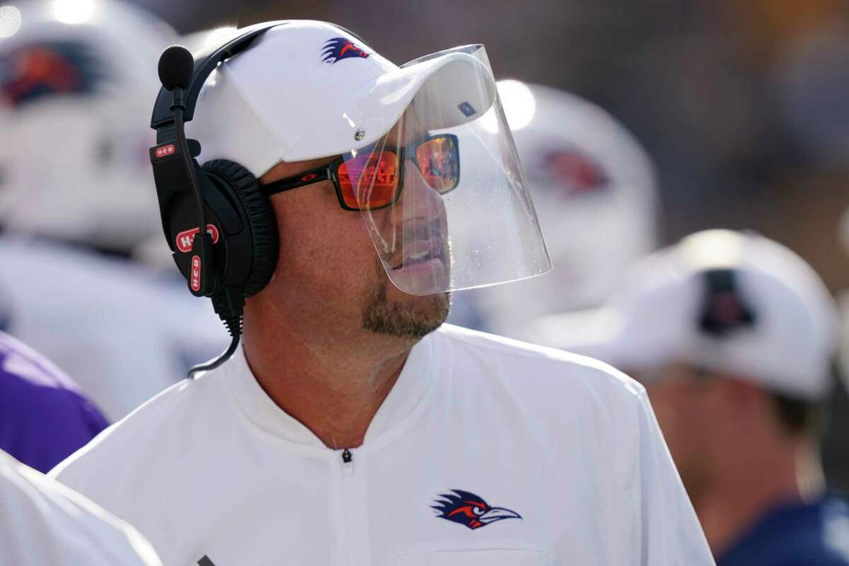 UTSA head coach Jeff Traylor watches his team play against Southern Mississippi during the first half of an NCAA college football game, Saturday, Nov. 21, 2020, in Hattiesburg, Miss. UTSA won 23-20. (AP Photo/Rogelio V. Solis)
