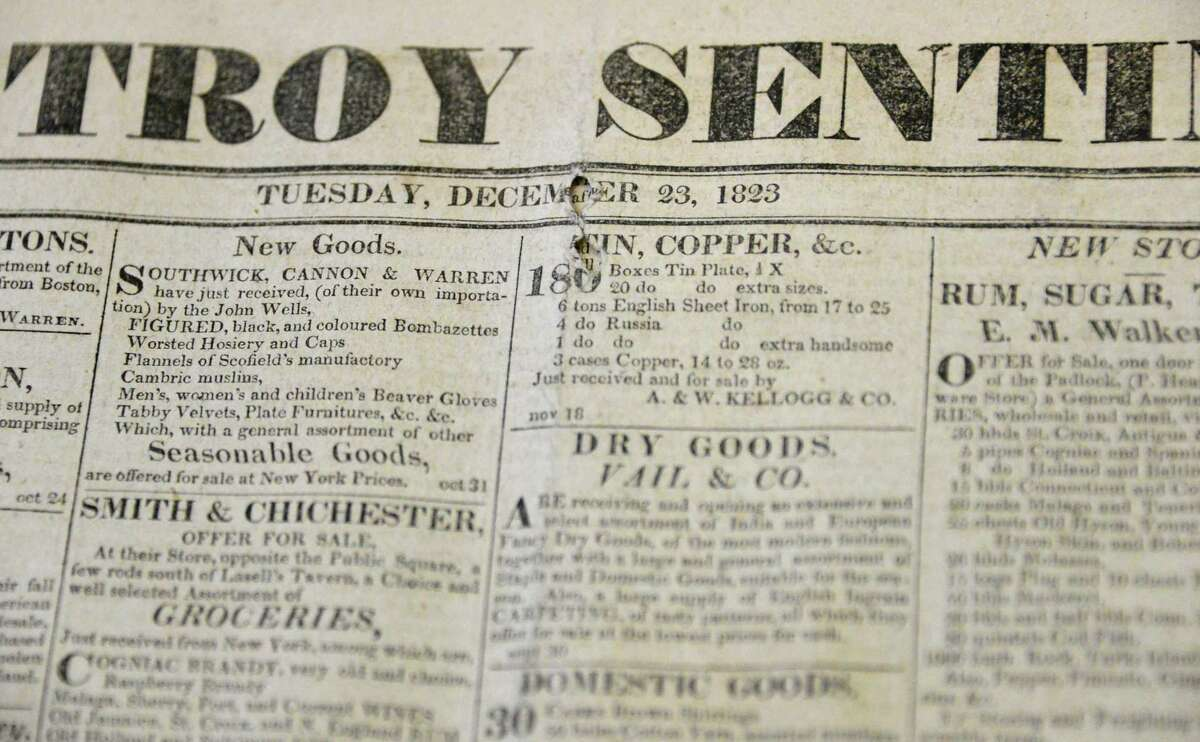 The Troy Sentinel newspaper of Dec. 23, 1823, in which