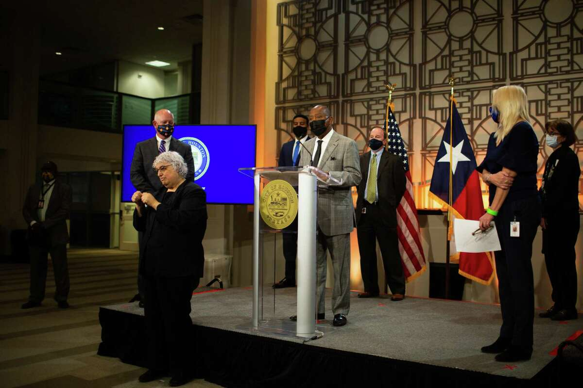Houston Mayor Sylvester Turner leads a press conference at the Houston City Hall, Monday, Dec. 14, 2020, about the upcoming arrival of COVID-19 vaccines to Houston's hospitals and about an antibody testing survey that reveled that one in seven Houstonians have been infected with the coronavirus.