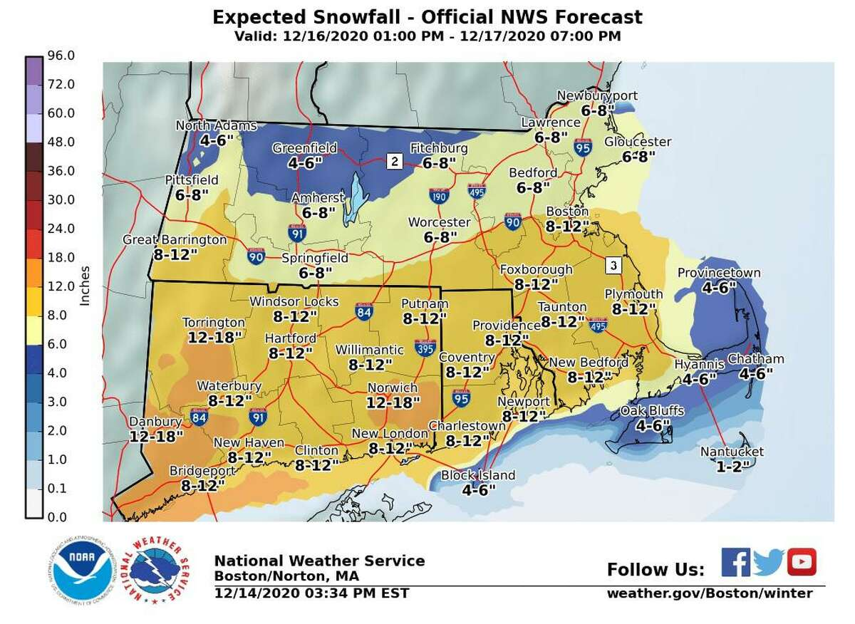 A map of projected snowfall totals later in the week