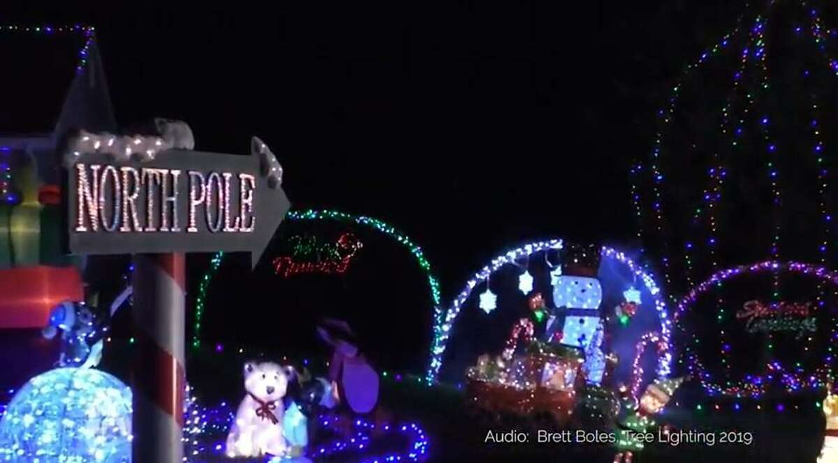 A Trumbull home decorated for the holidays on Huntington Turnpike.