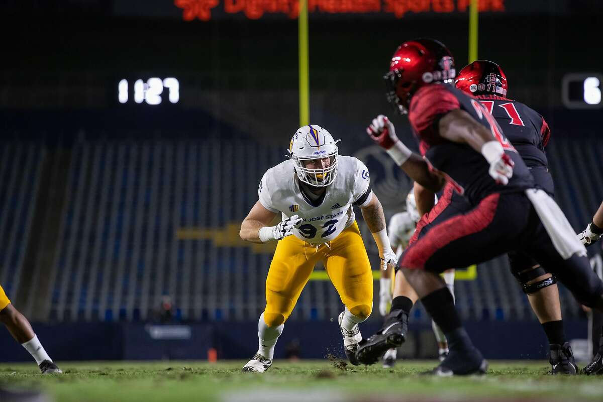 San Jose State defensive lineman Cade Hall (92) leads the Mountain West Conference in sacks this season with eight.