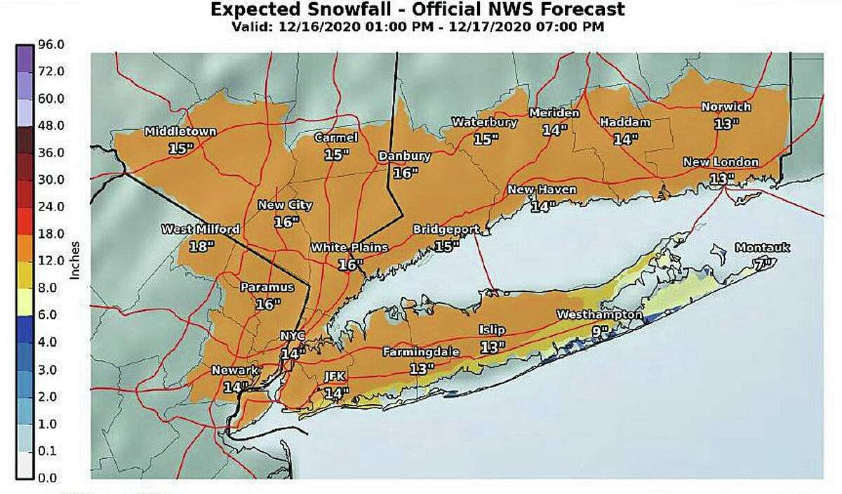 Current National Weather Service forecast showing the most likely case for snowfall totals across Connecticut for the storm set to hit Wednesday into Thursday.