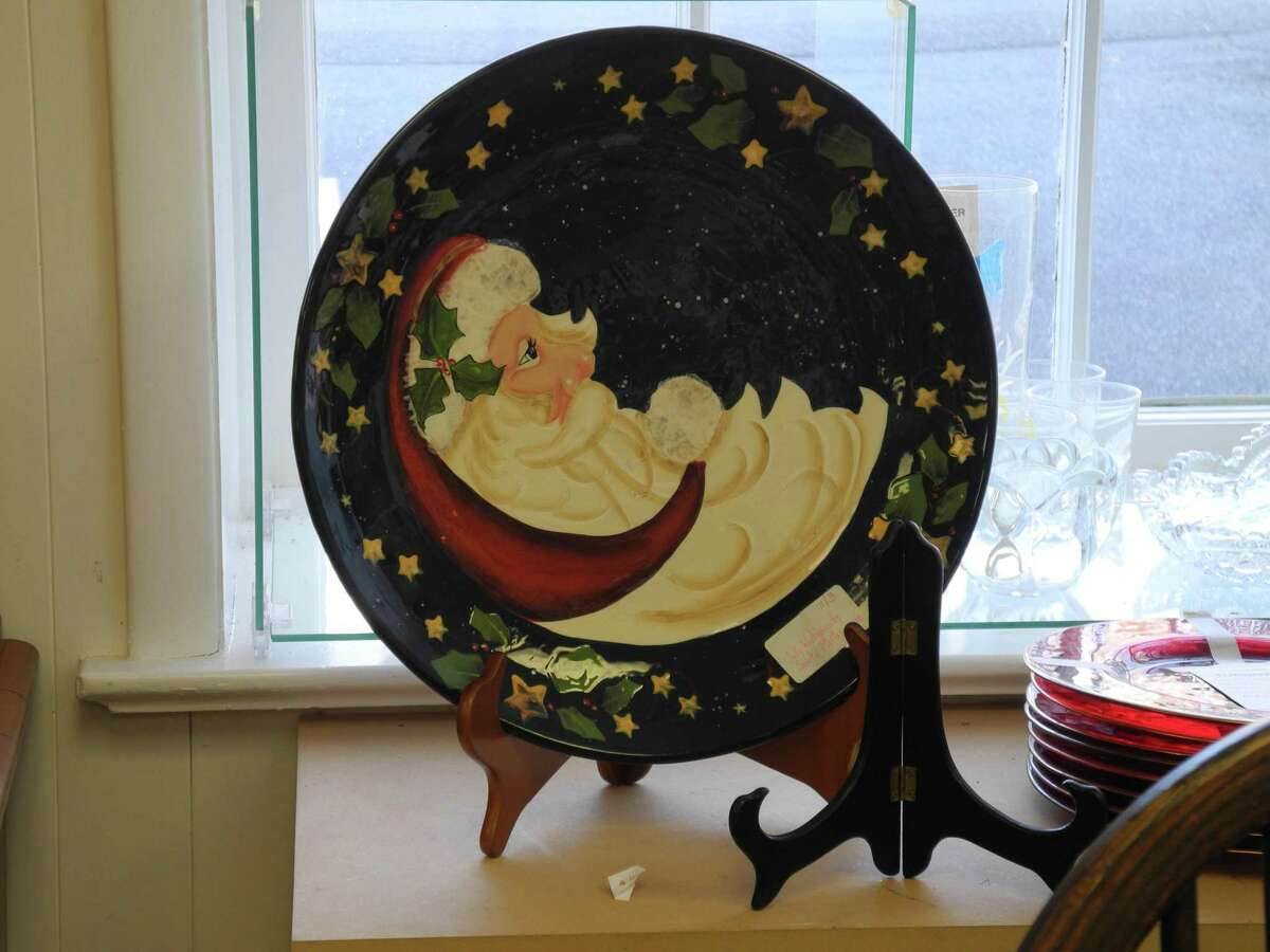 What better plate for cookies for Santa than one with his own face on it? Similar items can be found at the Turnover Shop in Wilton.